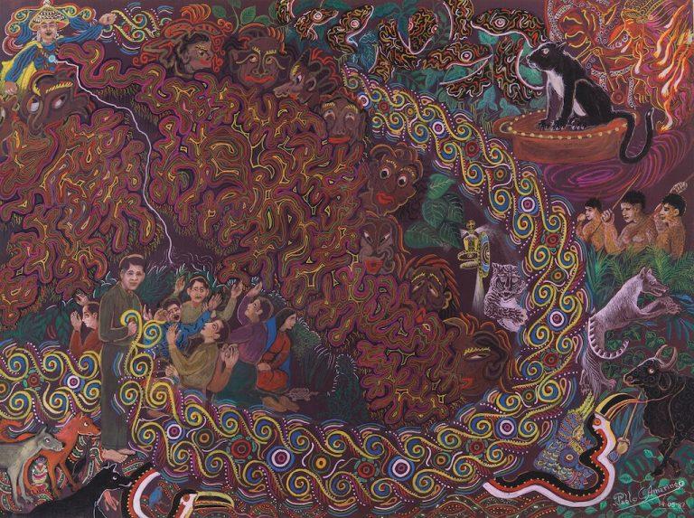 Fighting through tingunas pablo amaringo painting